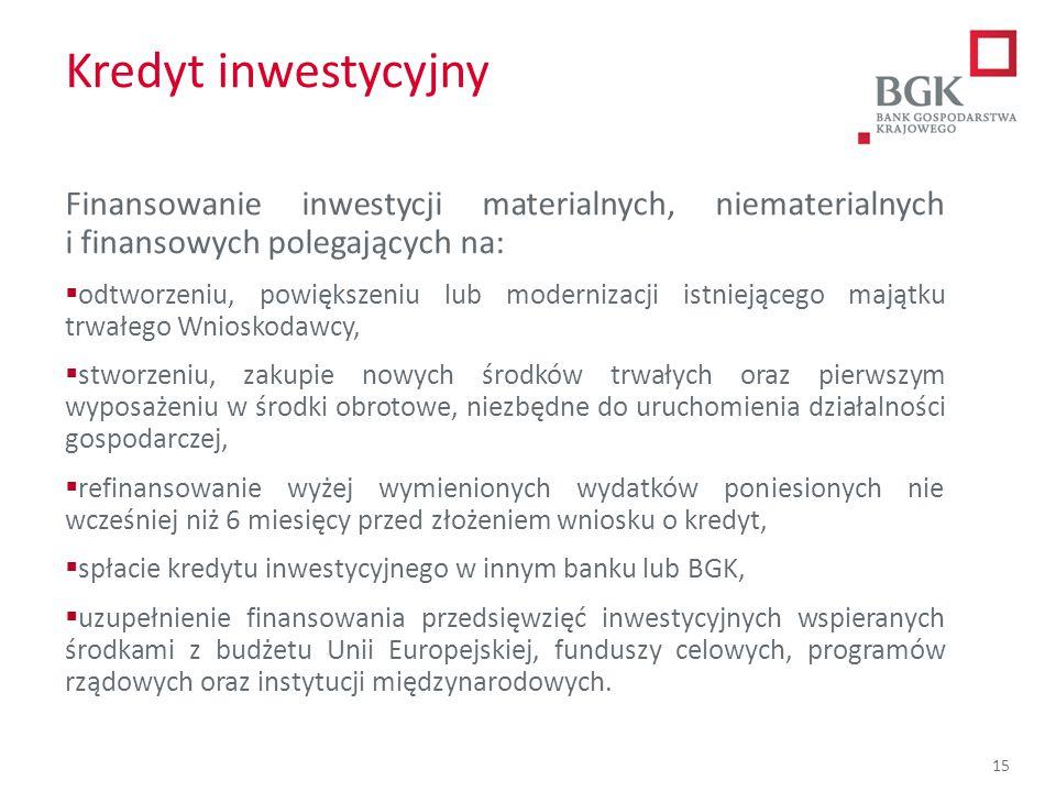 Kredyt inwestycyjny Finansowanie inwestycji materialnych, niematerialnych i finansowych polegających na: