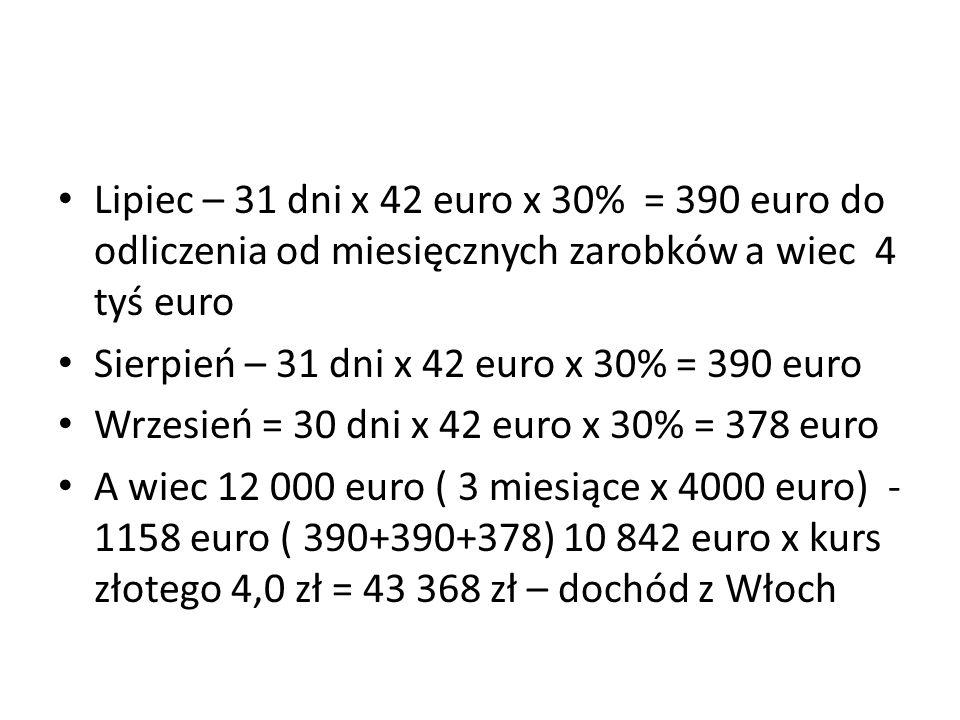Lipiec – 31 dni x 42 euro x 30% = 390 euro do odliczenia od miesięcznych zarobków a wiec 4 tyś euro