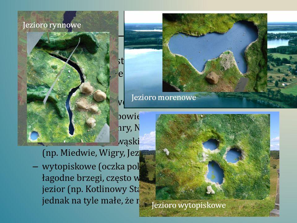 Jeziora polodowcowe Jezioro rynnowe. Jezioro morenowe.