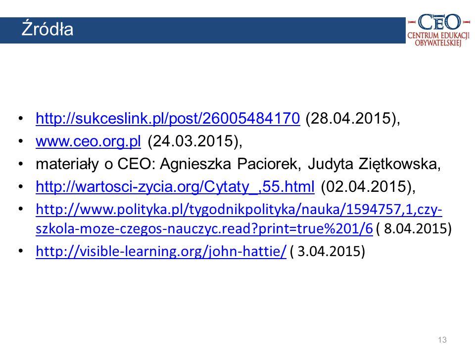 Źródła http://sukceslink.pl/post/26005484170 (28.04.2015),