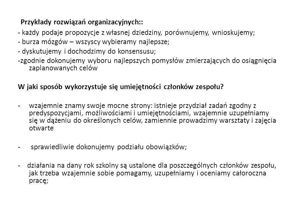 Przykłady rozwiązań organizacyjnych::