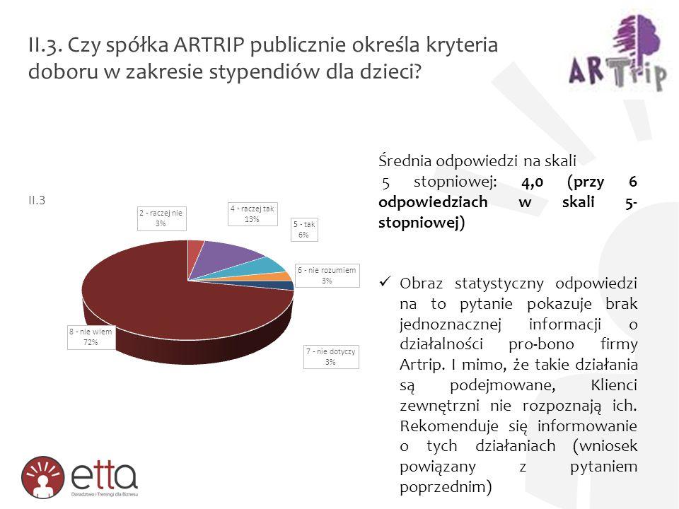II.3. Czy spółka ARTRIP publicznie określa kryteria doboru w zakresie stypendiów dla dzieci