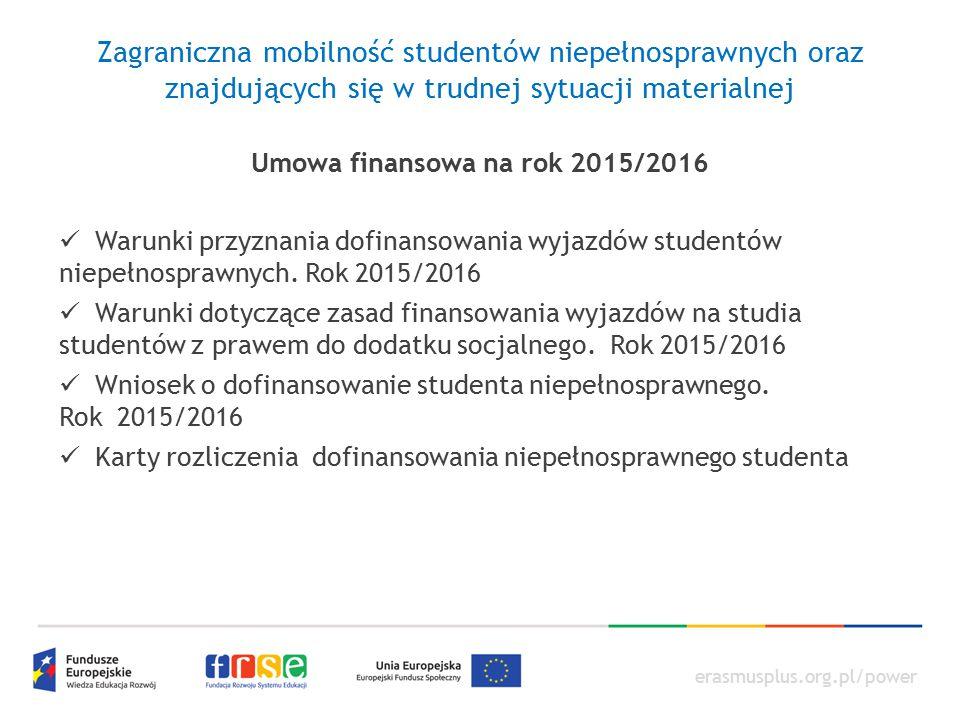 Umowa finansowa na rok 2015/2016