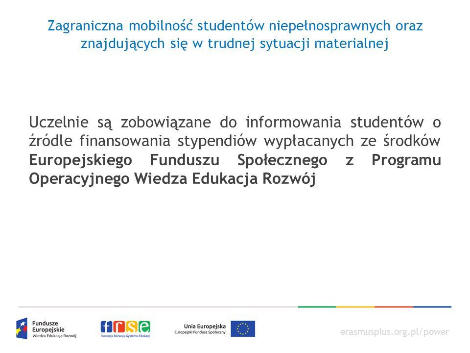 Zagraniczna mobilność studentów niepełnosprawnych oraz znajdujących się w trudnej sytuacji materialnej
