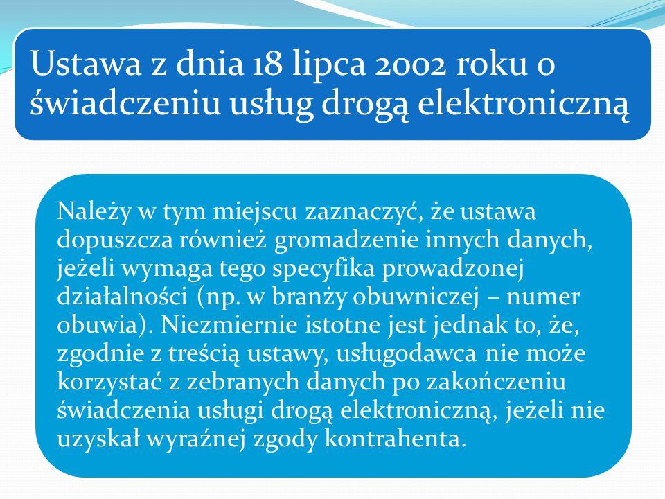 Ustawa z dnia 18 lipca 2002 roku o świadczeniu usług drogą elektroniczną