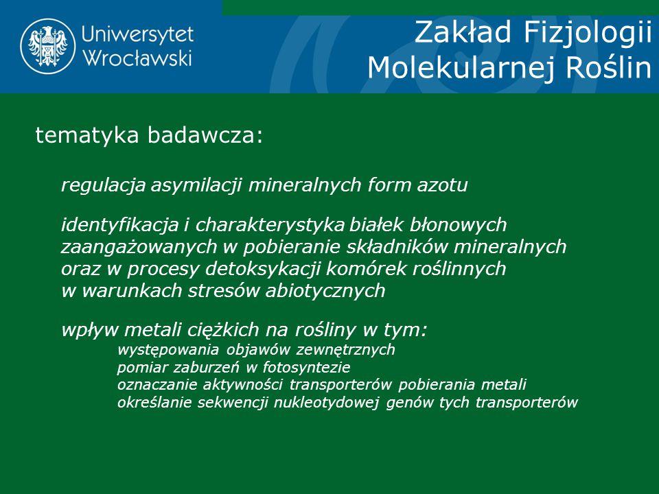 Zakład Fizjologii Molekularnej Roślin
