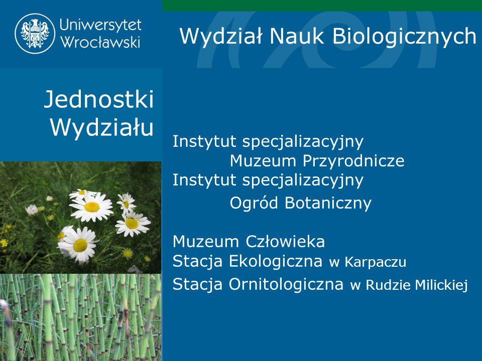Jednostki Wydziału Wydział Nauk Biologicznych Instytut specjalizacyjny