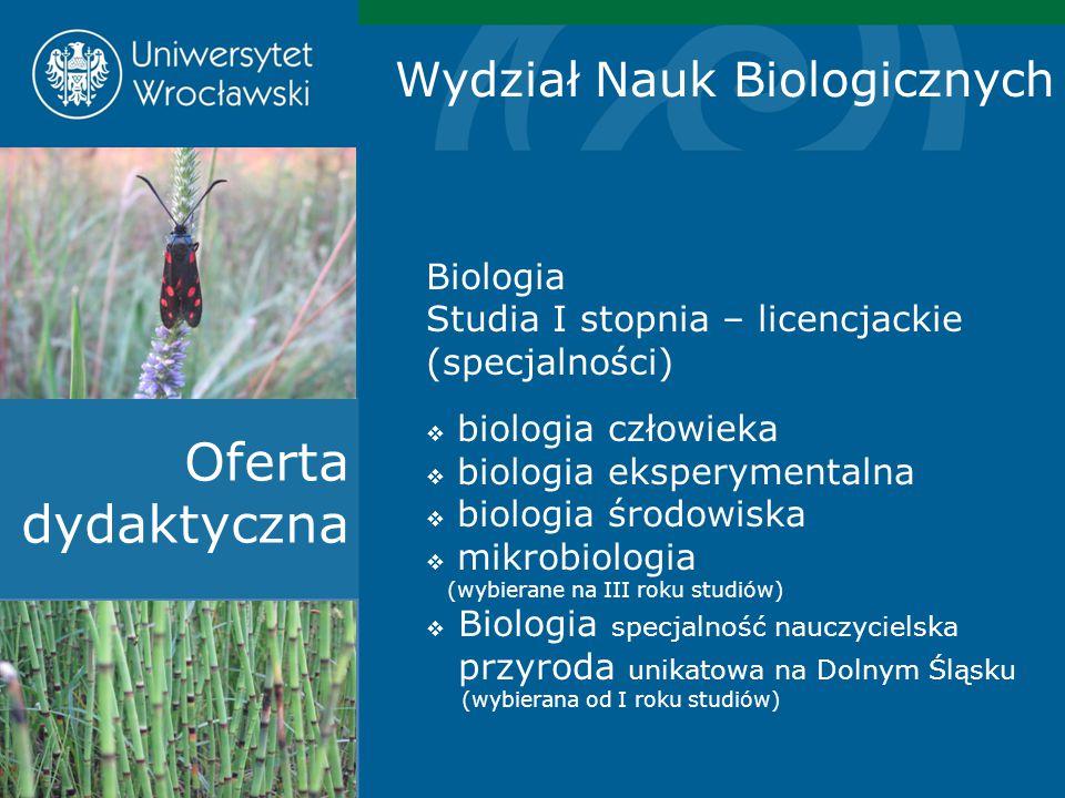 Oferta dydaktyczna Wydział Nauk Biologicznych Biologia