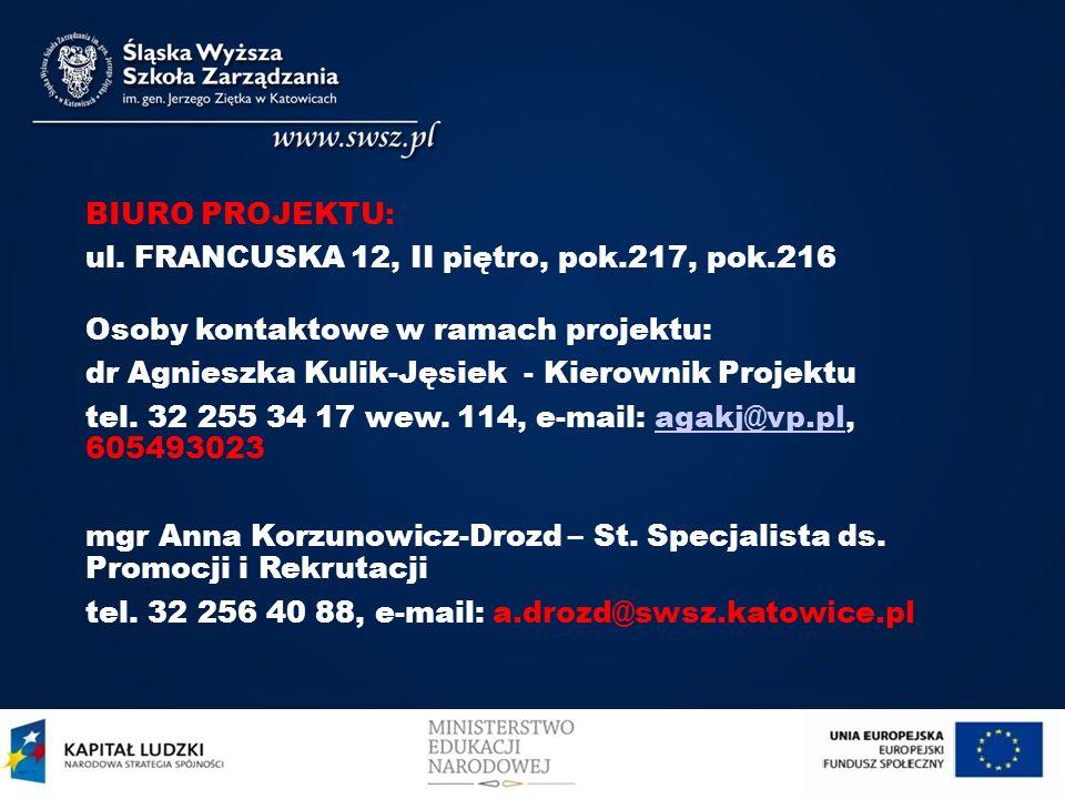 BIURO PROJEKTU:ul. FRANCUSKA 12, II piętro, pok.217, pok.216. Osoby kontaktowe w ramach projektu: dr Agnieszka Kulik-Jęsiek - Kierownik Projektu.