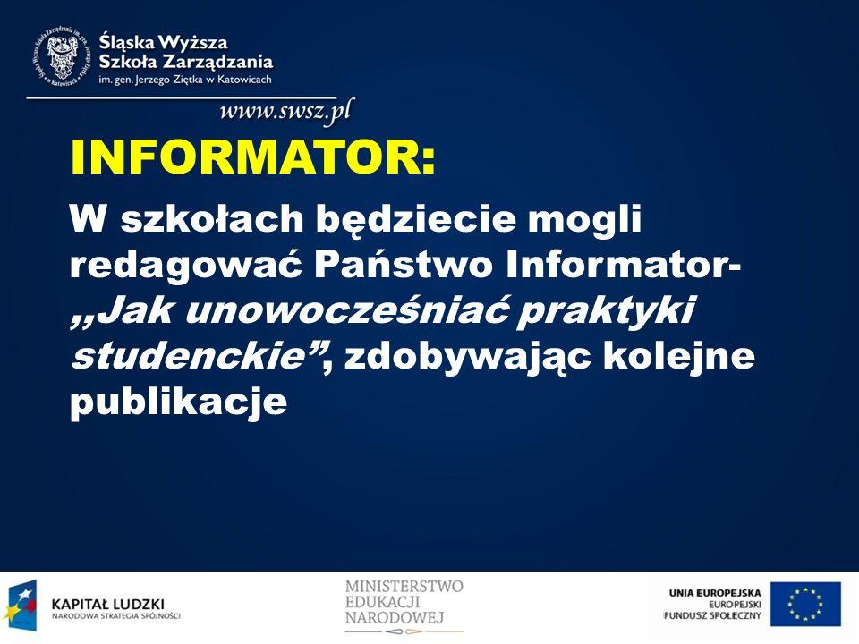 INFORMATOR: W szkołach będziecie mogli redagować Państwo Informator- ,,Jak unowocześniać praktyki studenckie , zdobywając kolejne publikacje.
