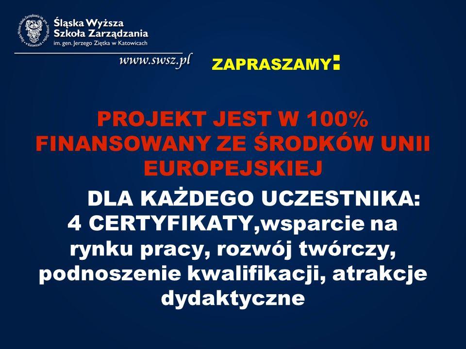 PROJEKT JEST W 100% FINANSOWANY ZE ŚRODKÓW UNII EUROPEJSKIEJ