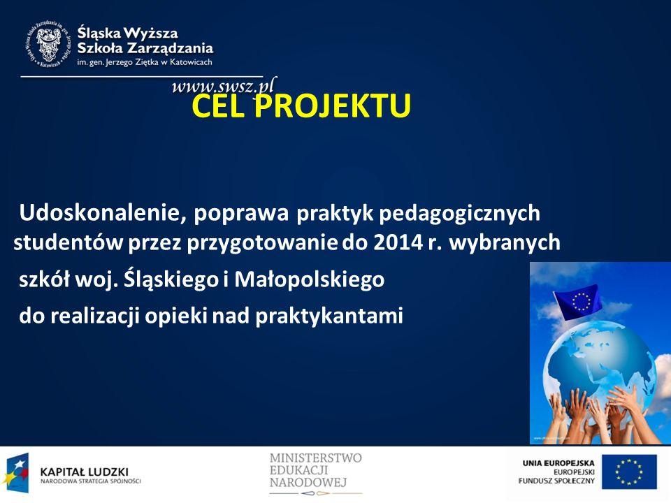 CEL PROJEKTU Udoskonalenie, poprawa praktyk pedagogicznych studentów przez przygotowanie do 2014 r. wybranych.