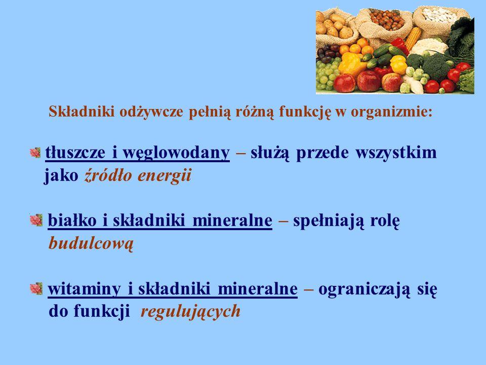 Składniki odżywcze pełnią różną funkcję w organizmie: