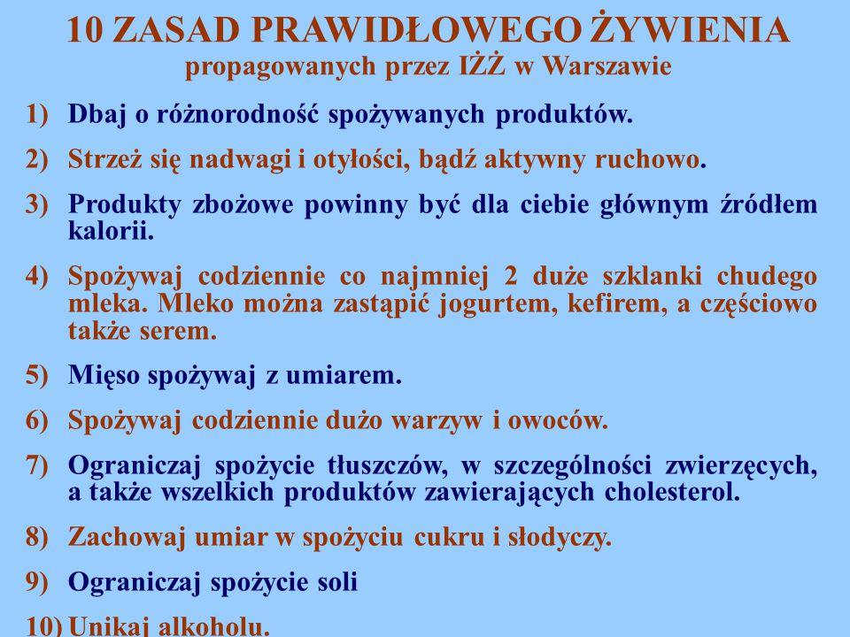 10 ZASAD PRAWIDŁOWEGO ŻYWIENIA propagowanych przez IŻŻ w Warszawie