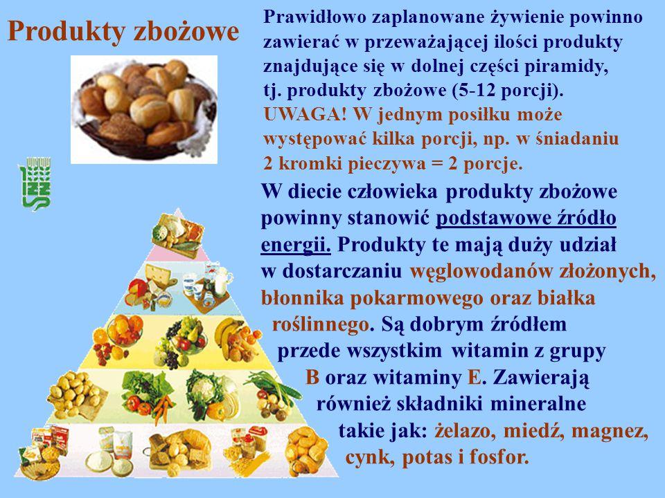 Prawidłowo zaplanowane żywienie powinno zawierać w przeważającej ilości produkty znajdujące się w dolnej części piramidy, tj. produkty zbożowe (5-12 porcji).