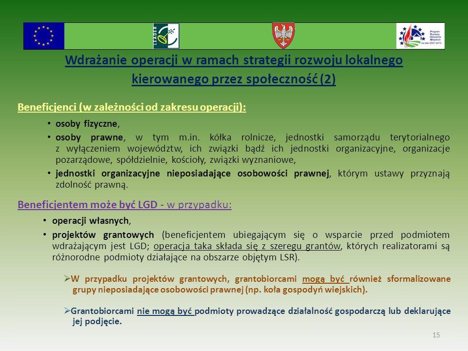 Wdrażanie operacji w ramach strategii rozwoju lokalnego