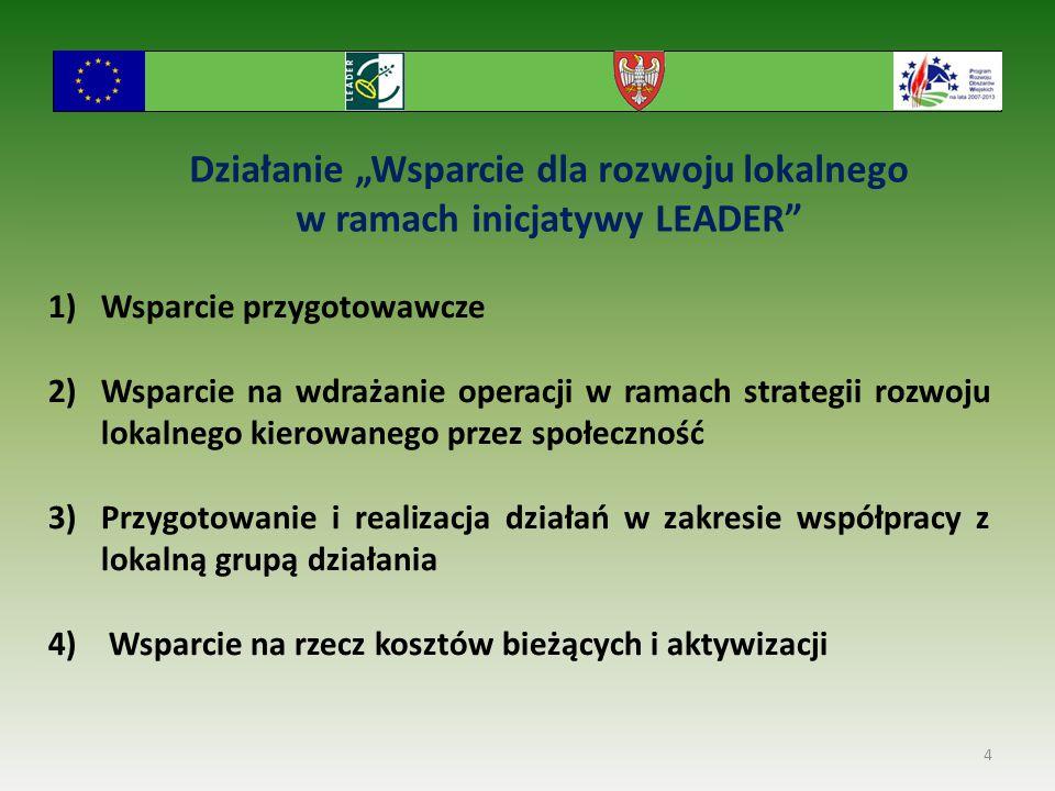"""Działanie """"Wsparcie dla rozwoju lokalnego w ramach inicjatywy LEADER"""