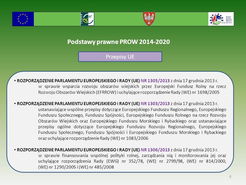 Podstawy prawne PROW 2014-2020 Przepisy UE