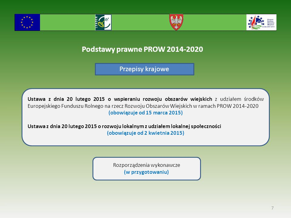 Podstawy prawne PROW 2014-2020 Przepisy krajowe