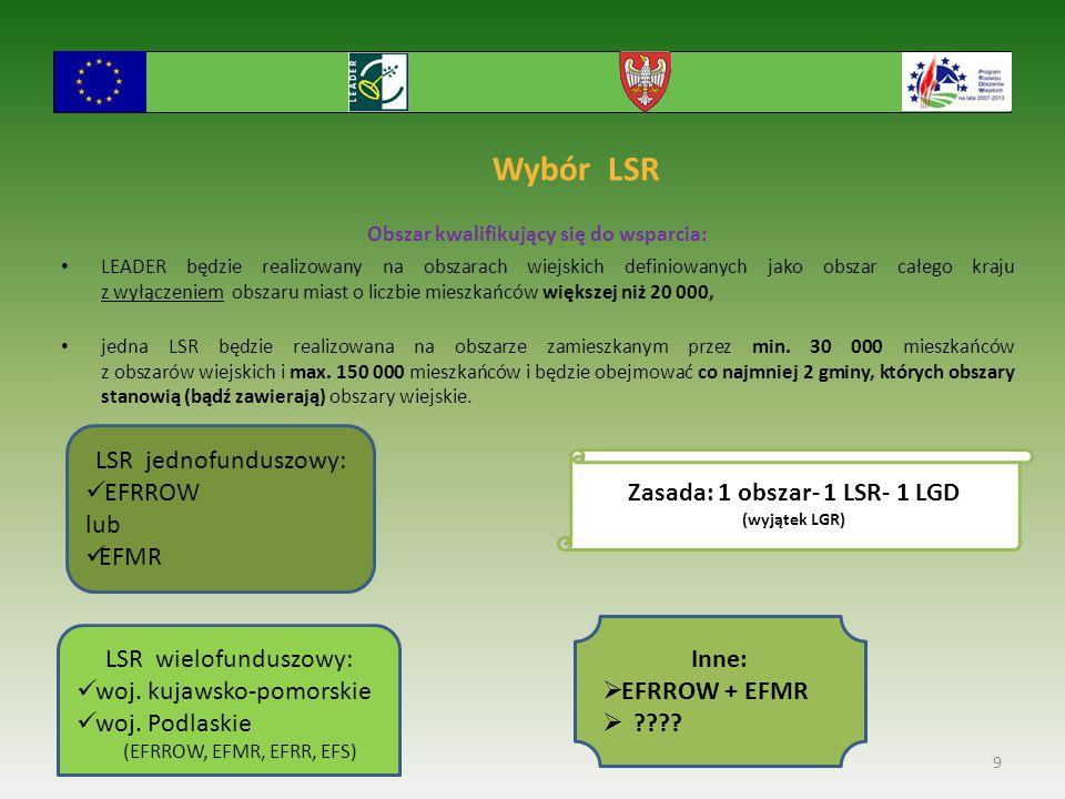Obszar kwalifikujący się do wsparcia: Zasada: 1 obszar- 1 LSR- 1 LGD