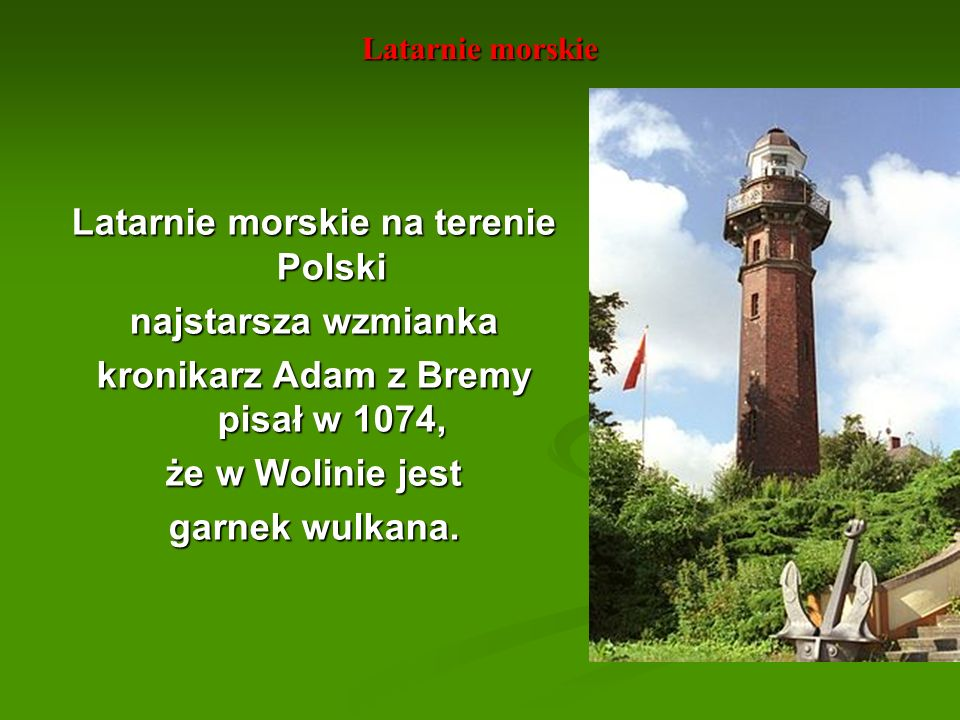 Latarnie morskie na terenie Polski najstarsza wzmianka