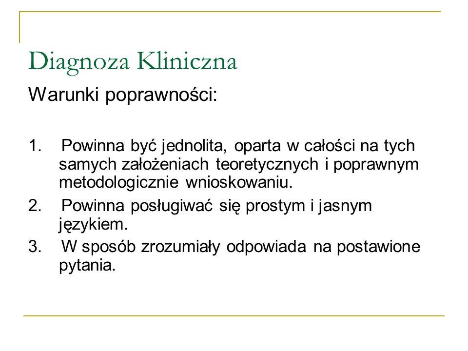 Diagnoza Kliniczna Warunki poprawności: