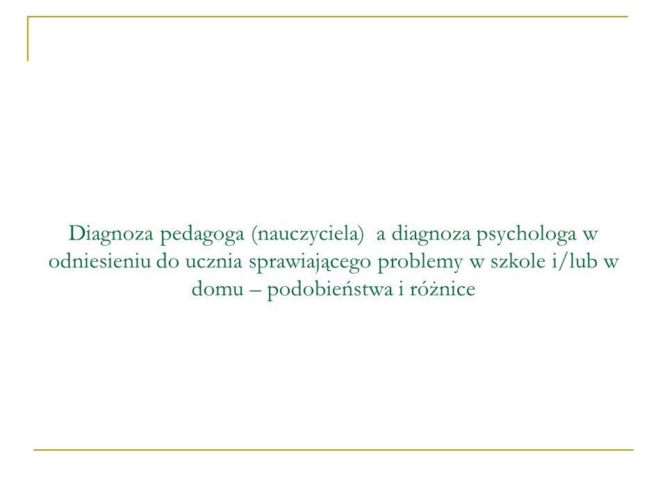 Diagnoza pedagoga (nauczyciela) a diagnoza psychologa w odniesieniu do ucznia sprawiającego problemy w szkole i/lub w domu – podobieństwa i różnice