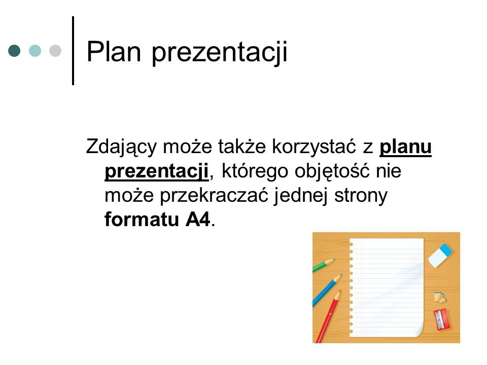 Plan prezentacjiZdający może także korzystać z planu prezentacji, którego objętość nie może przekraczać jednej strony formatu A4.