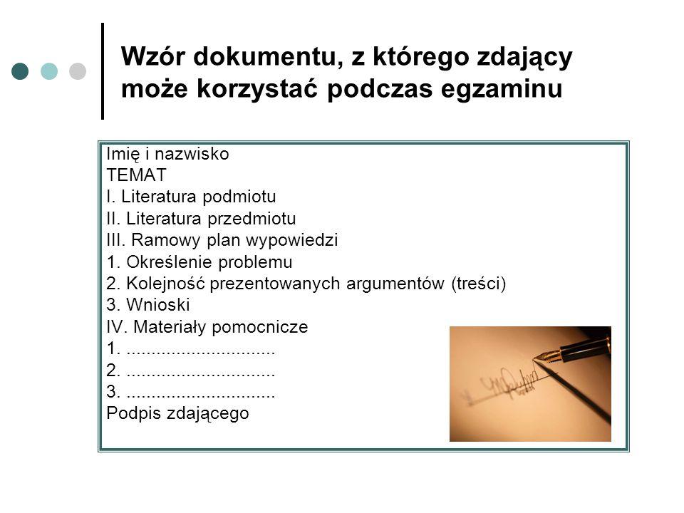Wzór dokumentu, z którego zdający może korzystać podczas egzaminu
