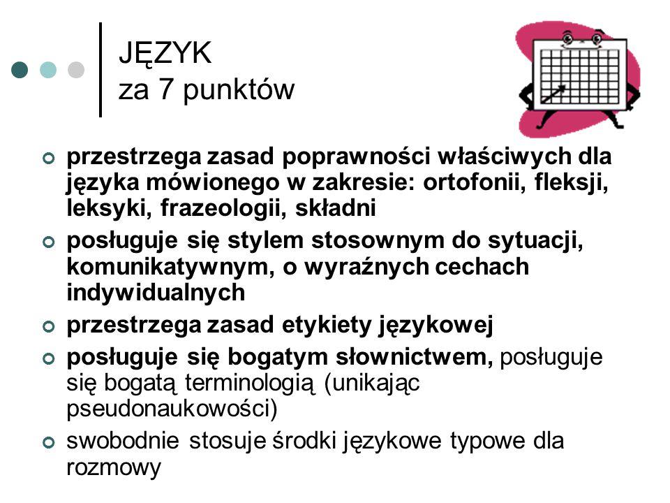 JĘZYK za 7 punktów przestrzega zasad poprawności właściwych dla języka mówionego w zakresie: ortofonii, fleksji, leksyki, frazeologii, składni.