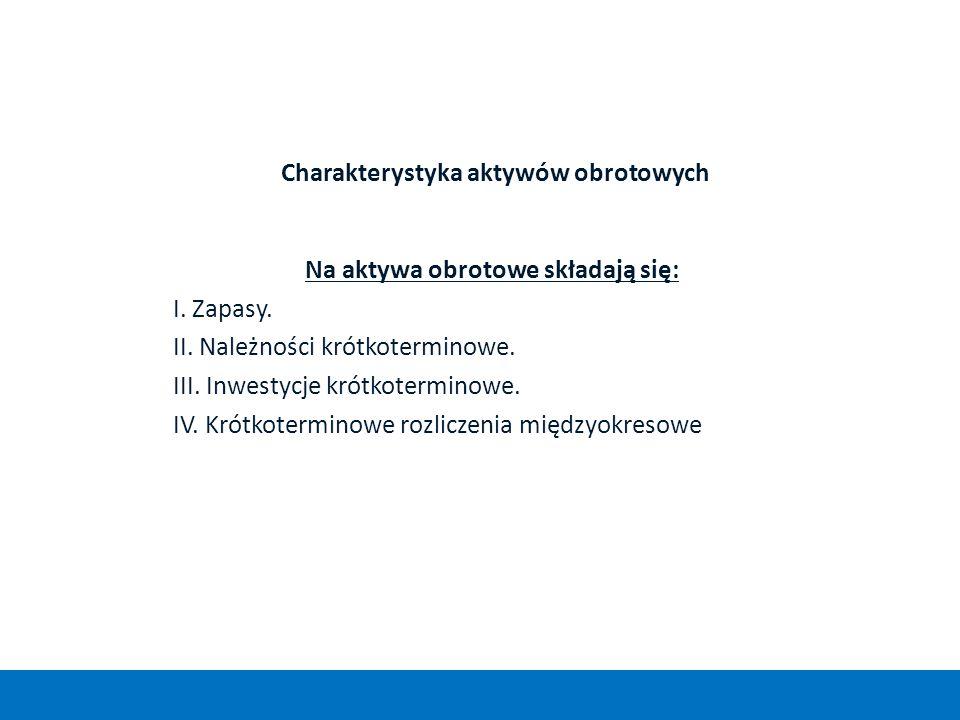 Charakterystyka aktywów obrotowych Na aktywa obrotowe składają się: