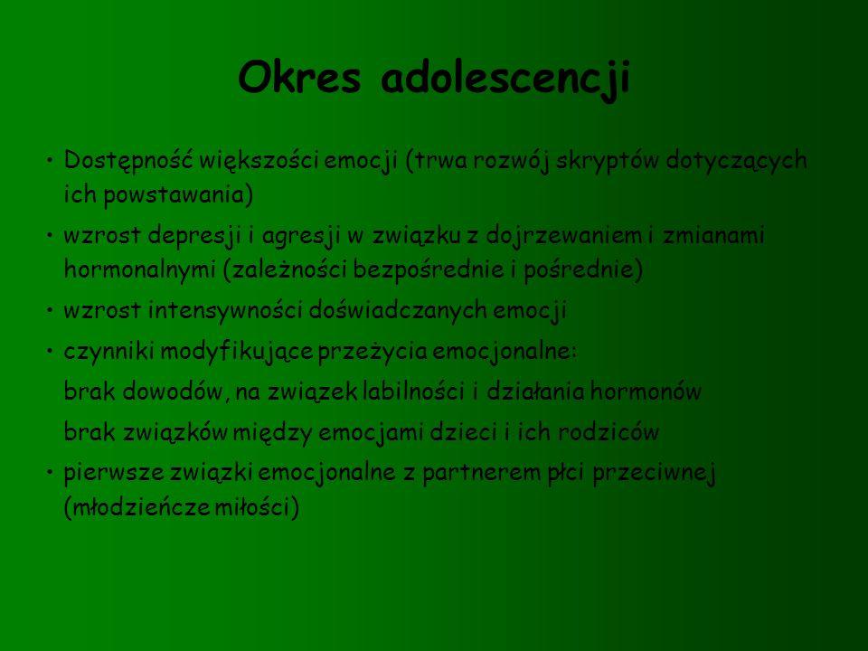 Okres adolescencji Dostępność większości emocji (trwa rozwój skryptów dotyczących ich powstawania)