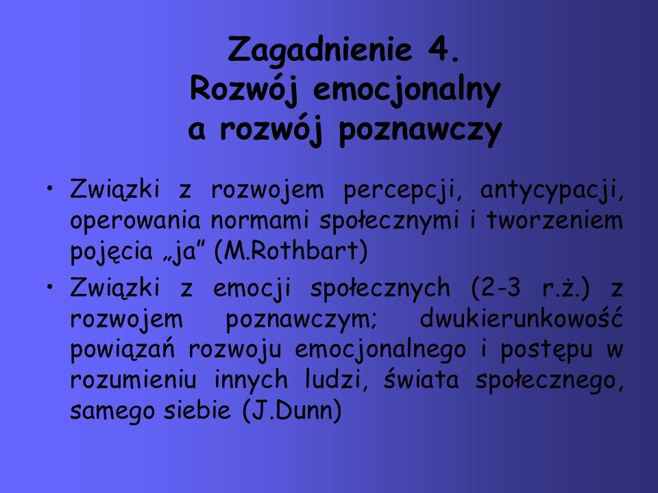 Zagadnienie 4. Rozwój emocjonalny a rozwój poznawczy