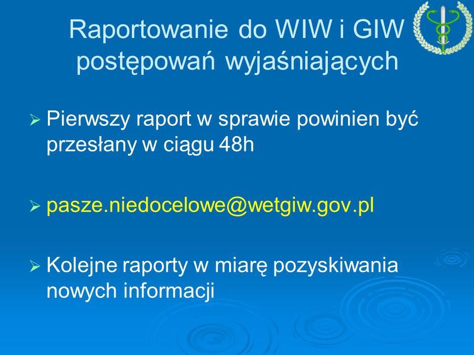 Raportowanie do WIW i GIW postępowań wyjaśniających