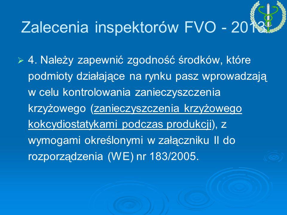 Zalecenia inspektorów FVO - 2013