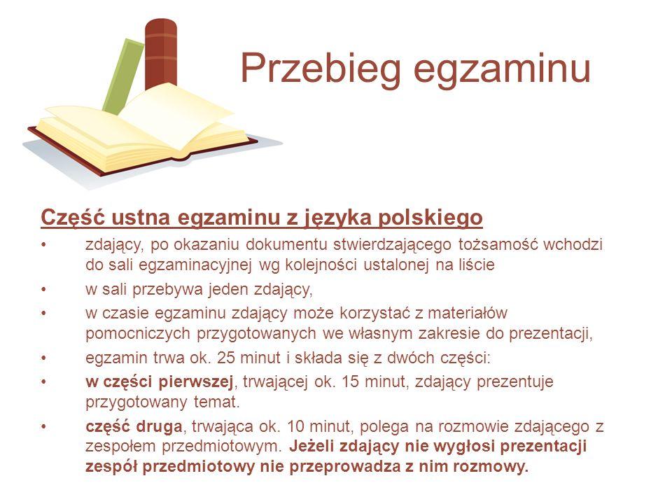 Przebieg egzaminu Część ustna egzaminu z języka polskiego