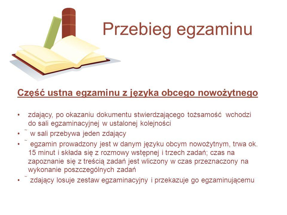 Przebieg egzaminu Część ustna egzaminu z języka obcego nowożytnego