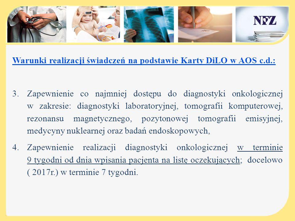 Warunki realizacji świadczeń na podstawie Karty DiLO w AOS c.d.: