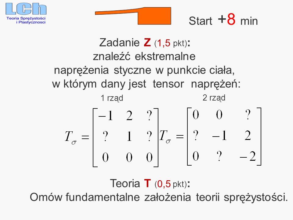 1 Start +8 min Zadanie Z (1,5 pkt): znaleźć ekstremalne