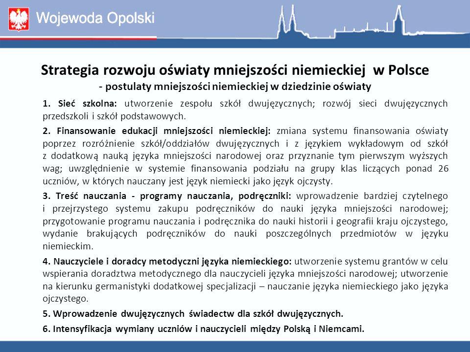 Strategia rozwoju oświaty mniejszości niemieckiej w Polsce - postulaty mniejszości niemieckiej w dziedzinie oświaty