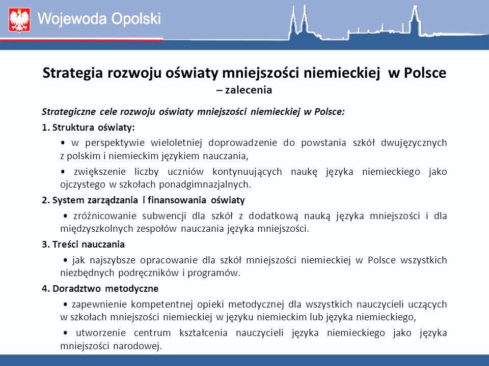 Strategia rozwoju oświaty mniejszości niemieckiej w Polsce – zalecenia
