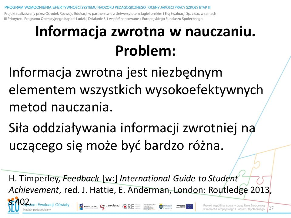 Informacja zwrotna w nauczaniu. Problem: