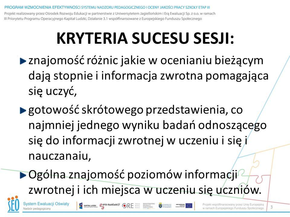 KRYTERIA SUCESU SESJI: