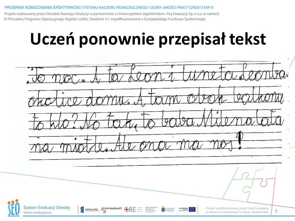 Uczeń ponownie przepisał tekst
