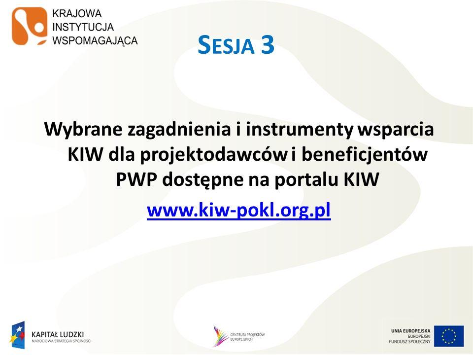 Sesja 3Wybrane zagadnienia i instrumenty wsparcia KIW dla projektodawców i beneficjentów PWP dostępne na portalu KIW www.kiw-pokl.org.pl