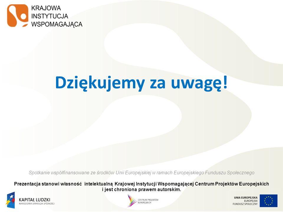 Dziękujemy za uwagę! Spotkanie współfinansowane ze środków Unii Europejskiej w ramach Europejskiego Funduszu Społecznego.