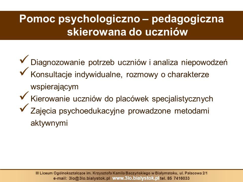 Pomoc psychologiczno – pedagogiczna skierowana do uczniów