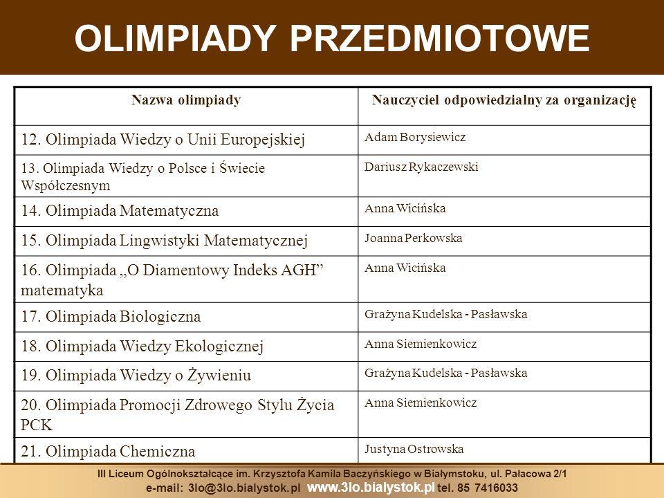 OLIMPIADY PRZEDMIOTOWE