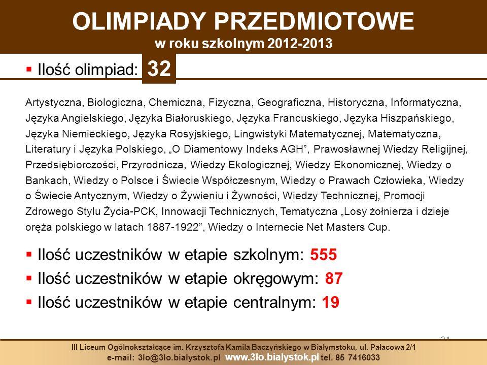 OLIMPIADY PRZEDMIOTOWE w roku szkolnym 2012-2013