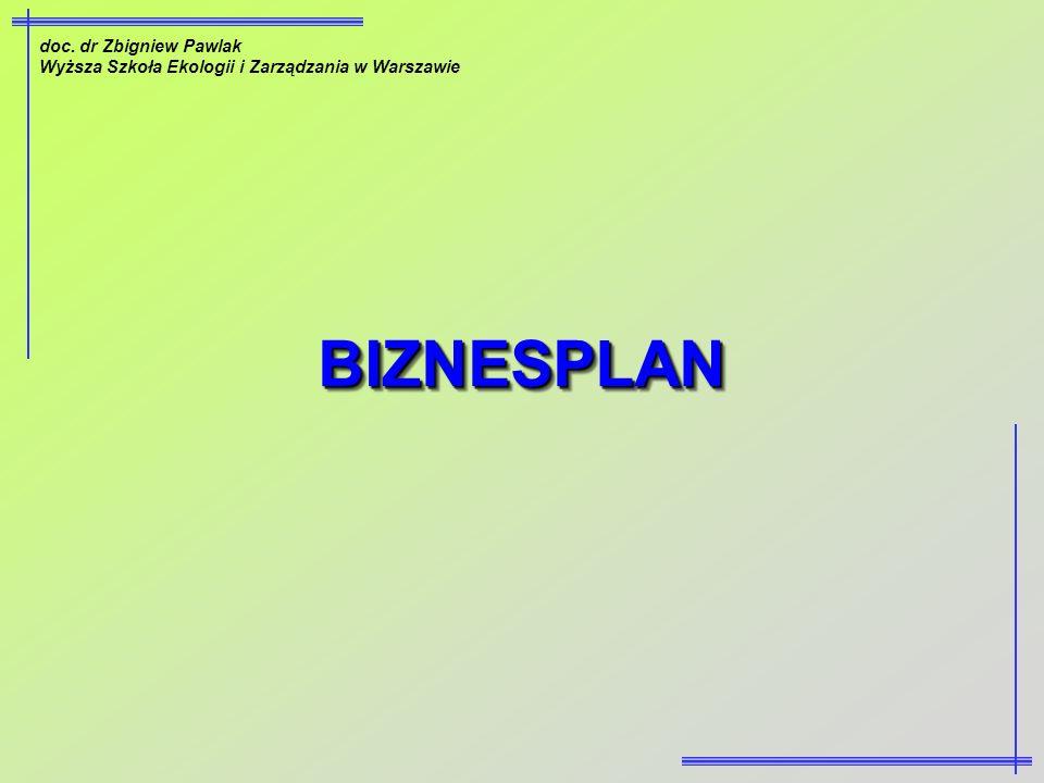 BIZNESPLAN doc. dr Zbigniew Pawlak